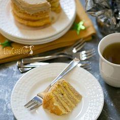 Egg Fast Cloud Cake with Coffee Buttercream via @lowcarbyum