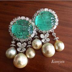 @jewelry_goals curve emerald, pearl and diamonds earrings by Kamyenjewellery