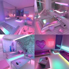 vaporwave bedroom If I had a downtown condo This would be the vibe Cute Bedroom Ideas, Cute Room Decor, Girl Bedroom Designs, Teen Room Decor, Awesome Bedrooms, Cool Rooms, Bedroom Decor, My New Room, My Room