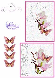 Magnolia Card Front on Craftsuprint designed by Diana Hutchinson - A stitching pattern (or piercing) card front in two sizes with Magnolia blossoms and butterfly decoupage. - Now available for download!