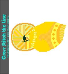 Modern Boho cross stitch pattern of mellow yellow lemons.