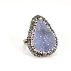 Druzy Quartz Ring - Crystal Blue Grey