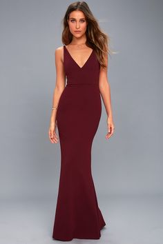 Enchantress will be your middle name when you step out in the Melora Plum Purple Sleeveless Maxi Dress! Medium-weight stretch knit falls effortlessly from tapering straps, to a darted bodice with V-neck and back. Fitted waist meets the full-length maxi skirt with a flaring mermaid hem. Hidden back zipper/clasp.