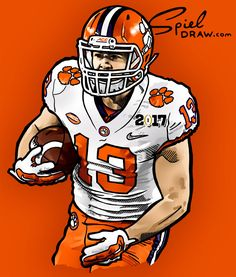 Digital illustration of Clemson wide receiver Hunter Renfrow. Created with Procreate and Photoshop. Clemson Athletics, Clemson University Football, Football Art, Auburn University, Clemson Tigers, Auburn Tigers, College Football, Football Helmets, Hunter Renfrow