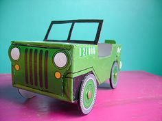 Cardboard Car, Cardboard Box Crafts, Recycled Crafts Kids, Crafts For Boys, Kids Jeep, Safari Jeep, Vintage Baby Boys, Baby Boy Shower, Kids Playing
