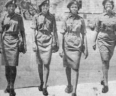 Here, the first female army officers, from left, Brenda Aaron, Clarissa Hukumchand, Hyacinth King and Captain Joan Grange