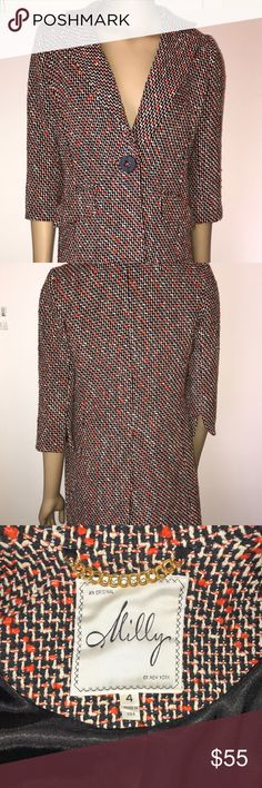Milly of New York Jacket 3/4 Length Sz 4 Milly of New York 3/4 length jacket. Lightweight. 3/4 length sleeves. Orange/brown tweed. Size 4. EUC. (123) Milly of New York Jackets & Coats Blazers