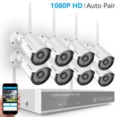 [2019 New] Wireless Camera System,Safevant 8CH 1080P NVR Home Security Camera System(CCTV Kits) with 8PCS 960P Inddor/Outdoor Bullet IP Cameras,No HDD,Auto Pair
