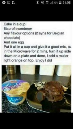 Slimming world cake in a cup Slimming World Deserts, Slimming World Puddings, Slimming World Tips, Slimming World Recipes Syn Free, Slimming Eats, Mug Recipes, Cooking Recipes, Easy Recipes, Diet Recipes
