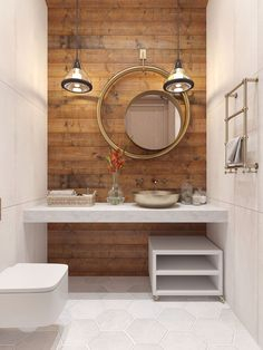 Round concentric mirrors and wood tone wall for bathroom home decor interior design idea