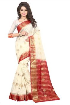 Elegant White Silk Saree With Blouse. Sabyasachi, Lehenga, Art Silk Sarees, Sonam Kapoor, Priyanka Chopra, Chiffon, Sari, Photoshoot, Gowns