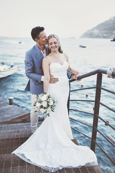 Bride in Lace Dress | Groom in Blue Blazer | Outdoor Italian Wedding at Minori on the Amalfi Coast Planned by La Calla Events | On Love and Photography Asos Bridesmaid, Wedding Suits, Wedding Dresses, Greenery Decor, Groom Dress, Amalfi Coast, Lace Dress, Events, Blazer