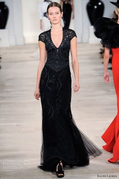 ralph lauren spring 2013 black embroidered gown short sleeves