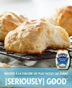 Make these moist and delicious homemade biscuits this Easter. You'll need just 5 ingredients, 5 minutes of prep and 20 minutes for baking. Click or tap photo for this Easiest-Ever Drop Biscuits Flaky Biscuits, Tea Biscuits, Drop Biscuits, Homemade Biscuits, Brunch, Good Food, Yummy Food, Biscuit Recipe, Breakfast Dishes
