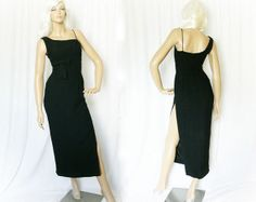 Vintage 50s Evening Gown Dress XS S Maxi Black at PopFizzVintage, $149.00