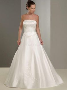 White Rococo Detachable Spaghetti A-line Beading Satin Wedding Dress