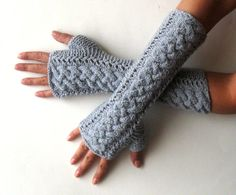 Braided Fingerless Gloves Gray Arm Warmers Wool by Aimarro on Etsy
