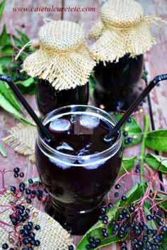 Sirop din fructe de soc - CAIETUL CU RETETE Romanian Food, Romanian Recipes, Canning Recipes, Science And Nature, Preserves, Smoothies, Deserts, Food And Drink, Sweets