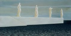 Four Figures on Wharf, 1952 by Alex Colville Canadian Artist Alex Colville, Canadian Painters, Canadian Artists, Ottawa, Christopher Pratt, Art Inuit, Order Of Canada, Artist Birthday, Art History Lessons