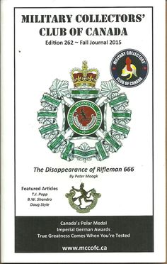 MCC Military Collectors Club of Canada Journal Book Edition 262 Fall 2015 CAN$5.00 + shipping