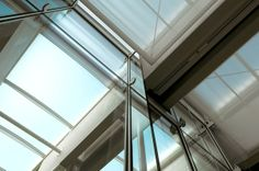 Kimbell Art Museum, Renzo Piano Pavillion, showing laminated wood beam and fabric scrim.