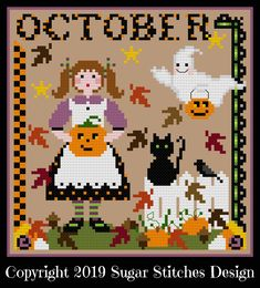 Fall Cross Stitch, Cross Stitch Quotes, Cross Stitching, Cross Stitch Embroidery, Cross Stitch Patterns, Loom Patterns, Calendar Girls, 2019 Calendar, Hand Embroidery Patterns Free