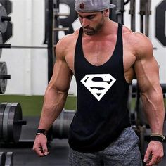 New Arrivals Bodybuilding stringer tank top Superman Gyms sleeveless shirt men Fitness Vest Singlet sportswear workout tanktop Fitness Logo, Fitness Man, Fitness Memes, Muscle Shirts, Muscle Tank Tops, Gym Guys, Gym Men, Sixpack Workout, Male Fitness