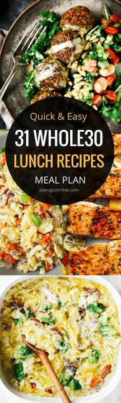 31 days of easy whole30 lunch recipes! Here it is! A quick, easy, and delicious meal plan for an entire month! Hit your goal with this easily customizable meal plan.Best whole30 lunch recipes all in one place. 31 days of whole30 lunch recipes! Whole30 meal plan that's quick and healthy! Whole30 recipes just for you. Whole30 meal planning. Whole30 meal prep. Healthy paleo meals. Healthy Whole30 recipes. Easy Whole30 recipes. Best paleo shopping guide. Easy whole30 lunch recipes. Easy whole3
