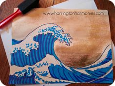 Make waves with Hokusai lesson- add water color background | Harrington Harmonies