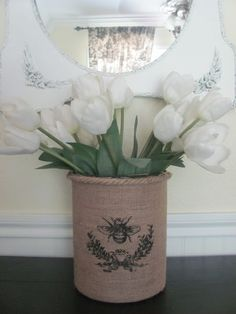 wrap a can with burlap and stencil for a frenchified vase