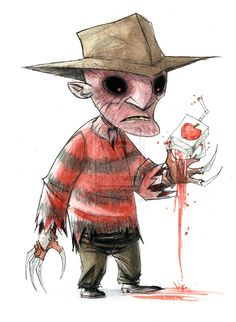 Geek Art: Little Horror Slashers - Freddy, Jason, Pinhead & Leatherface — GeekTyrant Freddy Krueger, Arte Horror, Horror Art, Scary Movies, Horror Movies, Horror House, Nightmare On Elm Street, Geek Art, Street Art