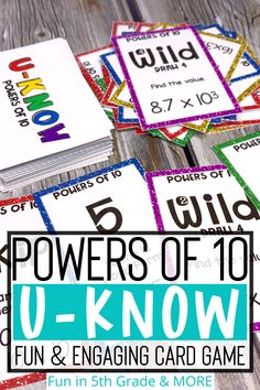 U-Know Game that covers the Power of 10 for 5th grade math. Fun and engaging activity perfect to use for test prep and review. Some skills that are worked on with this game are naming a power of 10 in exponent form from standard form, finding the value of multiplication of division problem using the power of 10, finding the value of a power of 10 in exponent form and MORE! Perfect for centers, early finishers and small groups. Ten Games, Fun Math Games, Standard Form, Review Games, Early Finishers, 5th Grade Math, Test Prep, Elementary Math