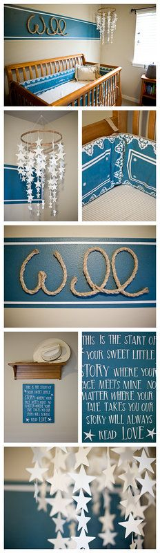 Cowboy themed nursery, a cowgirl theme would be so cute too! Love the name made out of rope and that star mobile.