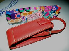 Red Leather Coach Cell Phone Reading Glasses Holder PLUS 6 Poppy pencils W Box #Coach