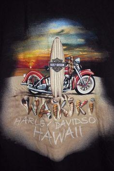 RARE HONOLULU HARLEY DAVIDSON WAIKIKI HAWAII BLACK T-SHIRT LARGE #HarleyDavidson #GraphicTee