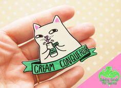 Cat Fridge Magnet, Cream Cat, Shrink plastic, Security cat, Funny cat, Cute fridge magnet, Grumpy cat, Kawaii cat charm, Kawaii cat magnet by ShopNDS on Etsy https://www.etsy.com/listing/293820735/cat-fridge-magnet-cream-cat-shrink