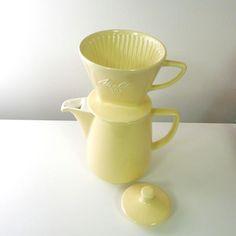 Melitta Ceramic Coffee Pot and Filter Cone Pastel Yellow. $48.00, via Etsy.
