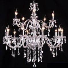 BYB® Crystal Chandelier Chandeliers Lighting Ceiling Fixture Pendant Lamp, D90*H80, 2 Tire, 12+6 Lights, Cognac Color, Free Shipping, LQ6101-12+6
