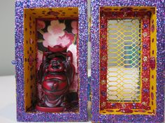 Buddha mini nicho, shrine, altar, collage, assemblage, shadow box