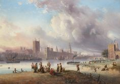 A view of Westminster Palace from Lambeth, London, 19th century,
