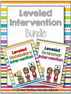 Save money with this BUNDLE! Contains over 300 pages of leveled intervention targeting vocabulary and grammar. Each skill increases in difficulty, making differentiation easy for you! These easy-to-create binders provide intervention strategies and practice that your students will love!