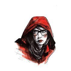 caputxeta Paula Bonet, Illustration, Red Hood, Red Riding Hood, Line Art, Darth Vader, Superhero, Painting, Fictional Characters