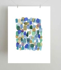 Abstract watercolor painting blue green dots  by LouiseArtStudio