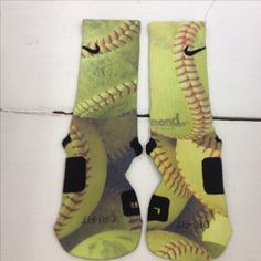 Custom softball socks made just for you by Sock Insanity!  #sockinsanity #storenvy   **Sock sizing is based on shoe size.  Art socks are one size, fits shoes sizes 6-13.  Small is for youth 3-5, and ladies 4-6.  Medium is for youth 5-7, mens 6-8, and ladies 6-10.  Large is for ladies 10-13, and mens 8-12.  X-Large is for mens 12-15. Nike Basketball Socks, Softball Socks, Wsu Basketball, Basketball Shorts Girls, Softball Shirts, Softball Clothes, Softball Stuff, Basketball Season, Tennis