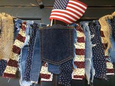 Patriotic Pocket Fringe Rag Tie Garland Bunting by TheFrozenApple