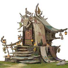 Concept Art Landscape, Landscape Drawings, Fantasy Landscape, Landscape Art, Fantasy City, Fantasy House, Fantasy World, Bg Design, Prop Design