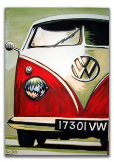 VOLKSWAGEN Camper Van ART VW ART  Pop Art HANDPAINTED  Original Handpainted Bespoke Canvas Art from The Kludoman Surf Co.