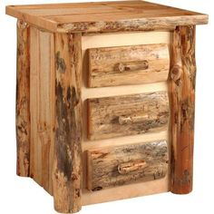 Amish Lodge Pole Pine Three Drawers Nightstand ($730) ❤ liked on Polyvore featuring home, furniture, storage & shelves, nightstands, pinewood furniture, pine furniture, handcrafted furniture, drawer nightstand and handmade furniture