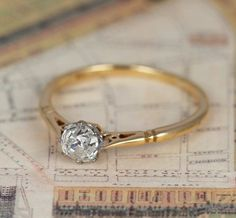 Old Cut Diamond Solitaire Ring Vintage Edwardian by HOLTSJewellery