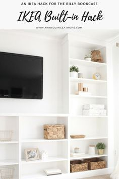 Complete a wall of built-ins on a budget by turning a set of IKEA Billy bookcases into a DIY set of built -ins. This is an IKEA hack you will want to see. Source by arinsolange Decor ikea Billy Ikea Hack, Ikea Billy Bookcase Hack, Built In Bookcase, Billy Bookcases, Bookcase Door, Bookshelves, Ikea Built In, Ikea Regal, Ikea Kids
